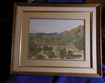 Vintage California Plein Air Watercolor Desert Scene, Landscape Painting Signed JMR
