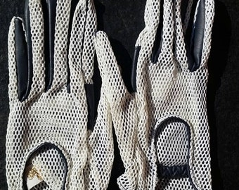 Vintage Black and White Mesh Driving Gloves // Edgy Pinup // Rockabilly Gloves