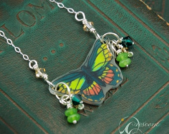 Hand-drawn mini green Butterfly sterling chain necklace made with shrink plastic, quartz and crystals