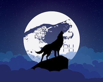 Howling at the Moon - 17x11 Print