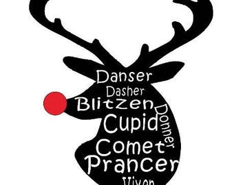 Vinyl Reindeer Head