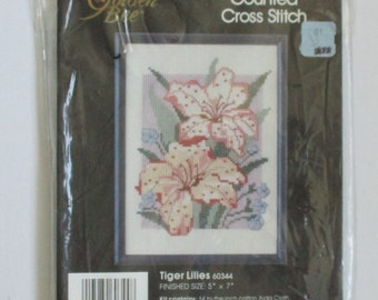 Golden Bee Vintage Counted Cross Stitch Kit Tiger Lilies Picture Needlecraft Destash Cross Stitch Kit #60344 Tiger Lily Wall Decor Craft