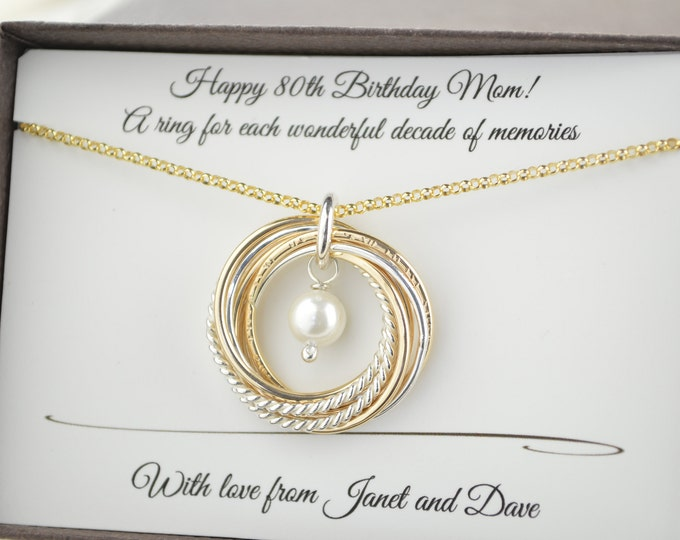 80th Birthday gift for mom and grandma, 8 Mixed metals necklace, Gold pearl necklace, June birthstone necklace, 8th Anniversary gift, Pearl