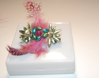 Hair Clip Feather Pinky