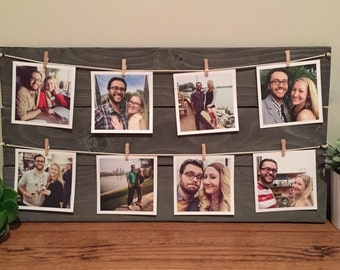 Wooden Picture Display with Clothespins