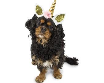 "Mini First Birthday Unicorn Hat, 4"" Smash Cake Party Hat,  Unicorn Birthday, Birthday Photo Prop Pink Party Fabric Glitter Unicorn Fairytale"