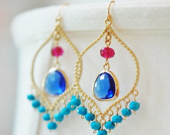 Gemstone Chandelier Earrings, Turquoise, Ruby Quartz, Glass, 14K Gold Fill Ear Wires, Hill Country Collection