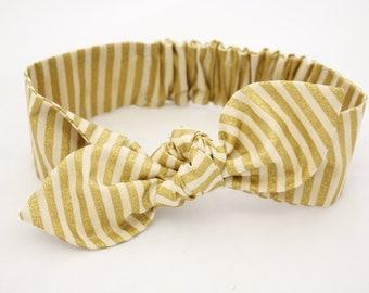 Danish Designer Headband, baby girl headband, gold stripes, knot baby headband, baby girl headband, metallic gold, cream baby headband
