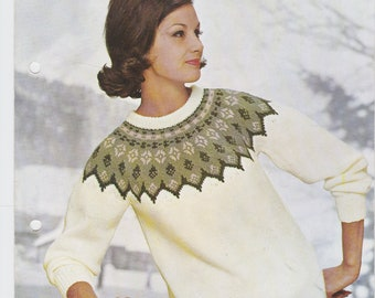 Ladies Norwegian Jumper 1960s sweater PDF knitting pattern double knitting DK equivalent yoke top