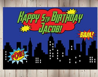 "18""x30"" Personalized Superhero Birthday Party Banner 