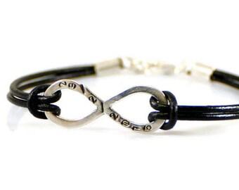 Personalized Mens Bracelet. Sterling Silver Infinity Bracelet. Custom Bracelet. Engraved Bracelet. Leather Bracelet. Boyfriend Gift For Him