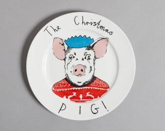 Side Plate - Christmas Pig