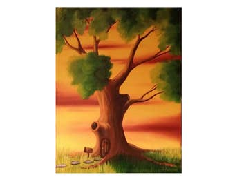 Treehouse Summer// 12x16//Oil on Canvas//