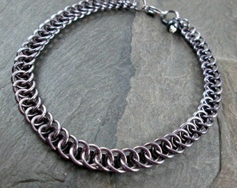 Chainmaille Anklet - Gunmetal Grey - Half Persian - Grey Aluminum - Chain Anklet - Ankle Bracelet
