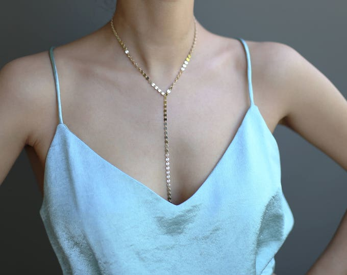 Coin Tattoo Disc Choker Lariat Y Necklace // Sexy Y Long Necklace // Gold Y Lariat Necklace // Gown Necklace