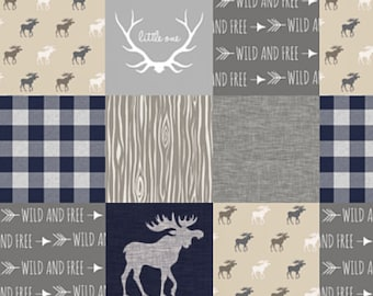 Moose Baby Blanket, Wild Free Little One Antler Plaid, Tan Navy Grey Gray, Woodland Baby Boy Patchwork Quilt, Minky Crib Quilt, Rustic Quilt