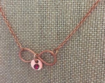 Copper Infinity Birthstone Charm Necklace, Solid Copper ~Handcrafted~ OOAK