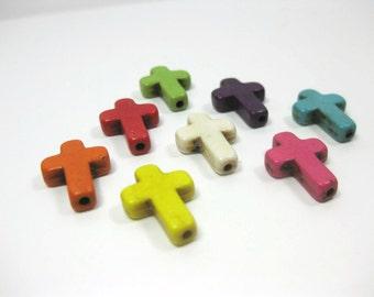8 Small 16mm Howlite Cross Beads