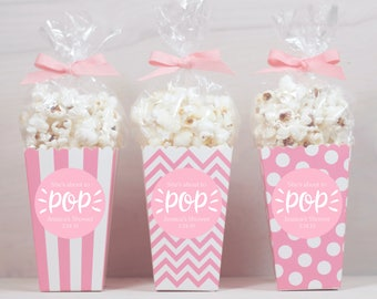 Baby Shower Favors Using Popcorn ~ Custom popcorn box favors personalized labels baby