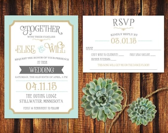 Mint and Gold Vintage Type Wedding Invitation and RSVP Card - Printable or Print Options