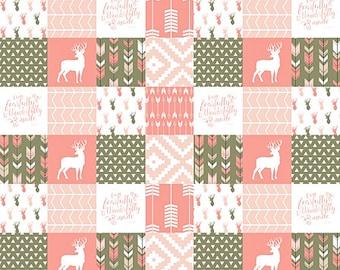 Rustic Woodland Baby Girl Crib Blanket, Brown Coral Pink, Fearfully Wonderfully Made, Coral Deer Baby Blanket, Minky Baby Blanket