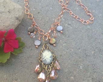 Elegant Romantic Grey Cameo and Crystal Rose Copper Chain Necklace