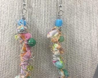 Earrings. Handmade Boho cloth earrings wire wrapped bead earrings. (547)