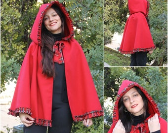 Red hood cloak , red riding hood ,free size ready to ship