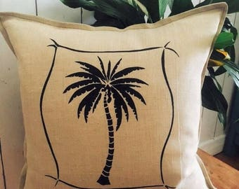 Tropical Palm Tree, Cushion cover Hand printed onto Linen, Made in Australia