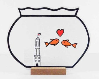Wooden Fishbowl with 2 fishes, a heart and the Domtower.