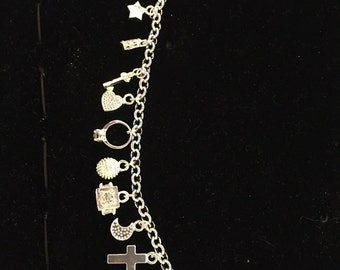 Sterlin silver charms and bracelet