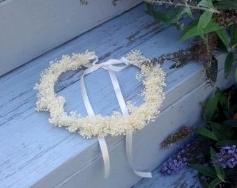 Rustic chic Dried flower crown Baby's Breath Bridal hair wreath Woodland Wedding Accessories Halo ivory Woodland Floral photo prop Headband