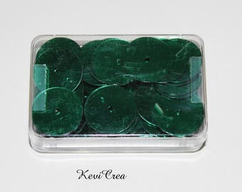 1 x green round sequins - 8 g - box sewing