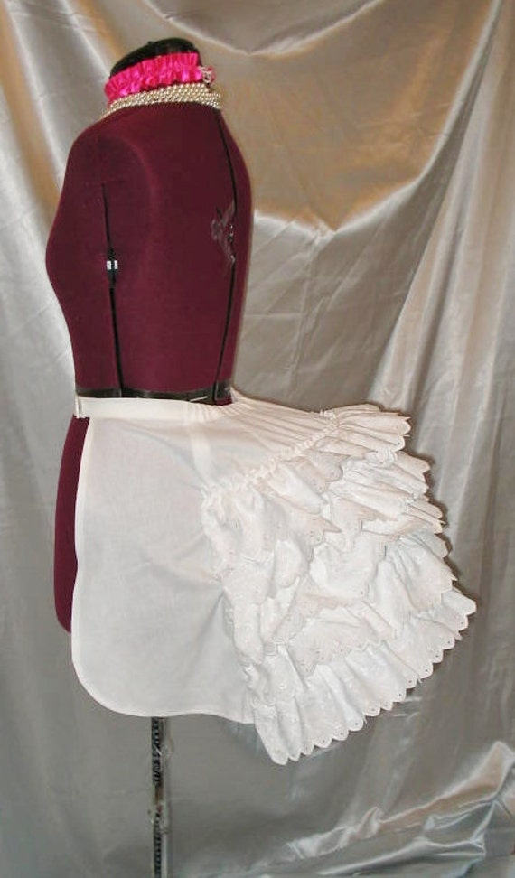 Victorian Bustle Cage Frame Late 1800's Bustle Dress Costume with petticoat ruffles