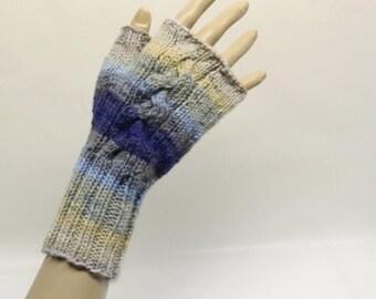 Cabled Fingerless Gloves in Blue Multi  FG012