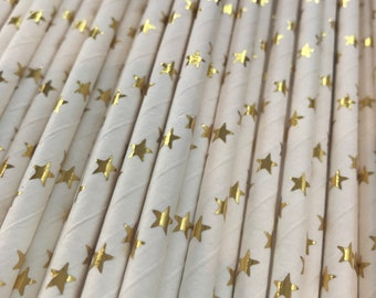 Paper Straws - Twinkle Twinkle Little Star - Star Paper Straws - Gold Star Straws - Little Star Baby Shower