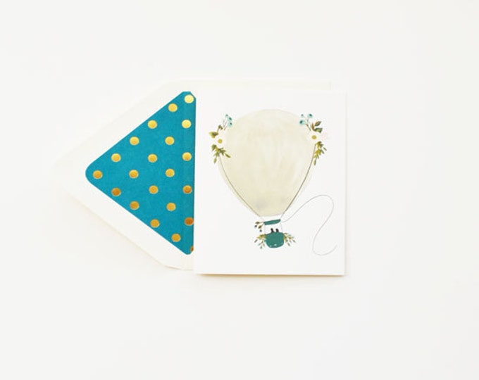 Greeting Card 'Hot Air Balloon' with Teal & Gold accents