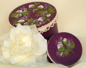 Hand-Painted Hat Box Set of 2 - Lavender Roses with Lace Trim - Jewelry Box Accessories Storage