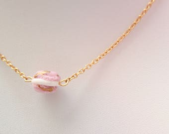 Layering Necklace - Gold Choker Necklace - Pink Macaron Necklace - Dainty Gold Necklace