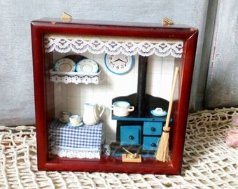 Miniature Kitchen in a Box, Vintage Rustic Shadowbox, French Country Farmhouse Decor,