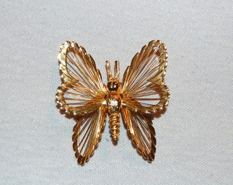 Large Monet Brooch, Butterfly Signed Gold Silver Tone, Insect Bug Designer, Vintage Old jewelry