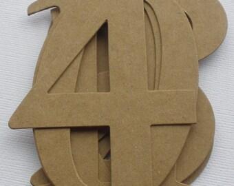 """4"""" ELEGANT NUMBERS - Natural Chipboard Die Cuts -- 4"""" Tall - Wedding Table Numbers"""