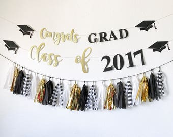 Graduation Banner | Congrats Grad Banner | Class of 2017 Banner | Graduation Party Decor | Congratulations Banner | Black and Gold Graduatio