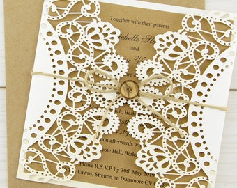 SAMPLE * Doily Laser Cut Wedding Invitation with Button