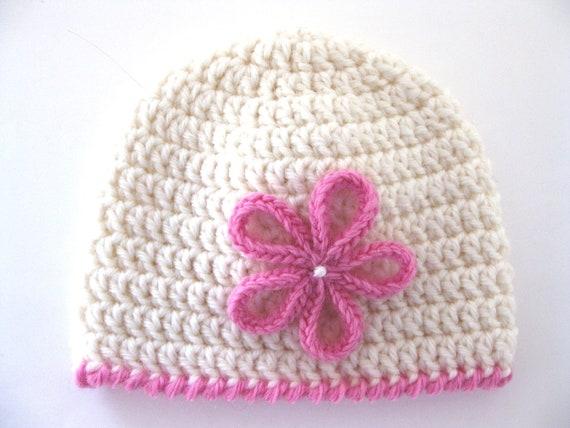 Pattern Preemie Crochet Hat Flower Pdf Girl Baby Edging White Pink