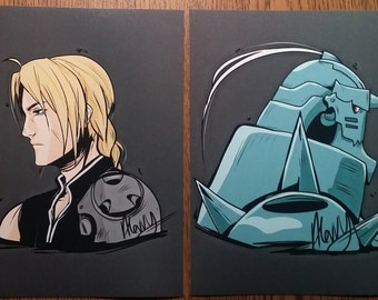 """Set of Fullmetal Alchemist 5""""x7"""" Lustre Art Prints, available in B/W or Colored"""