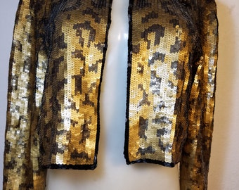 FREE  SHIPPING  1980 Abstract Sequin Jacket