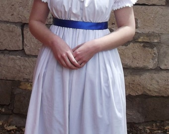 Regency Era White Gown, Empire Waist Long Dress