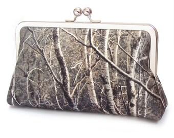Silver birch trees clutch purse, trees forest bag, woodland wedding, bridesmaid gift, silk handbag
