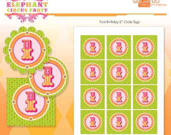 Pink Elephant Circus 1st Birthday Party Circles - Party Logos Hot Pink - DIY Print - Vintage Carnival First Birthday - Instant Download